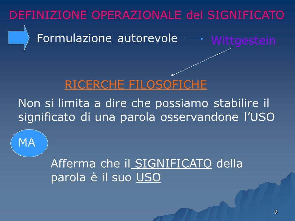 9 DEFINIZIONE OPERAZIONALE del SIGNIFICATO Formulazione autorevole Wittgestein RICERCHE FILOSOFICHE Non si limita a dire che possiamo stabilire il sig