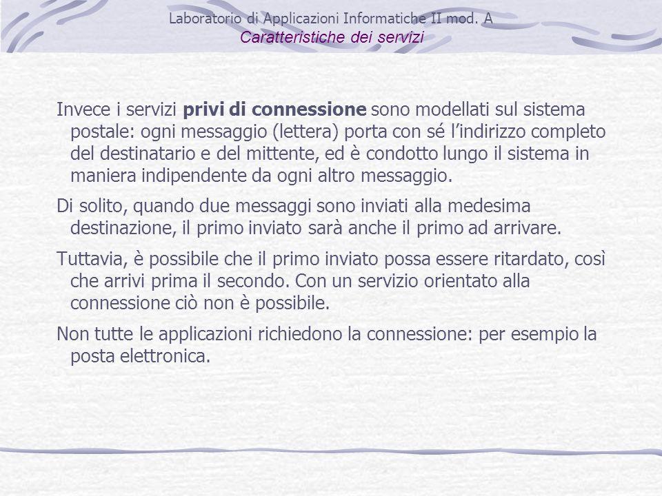 Invece i servizi privi di connessione sono modellati sul sistema postale: ogni messaggio (lettera) porta con sé lindirizzo completo del destinatario e