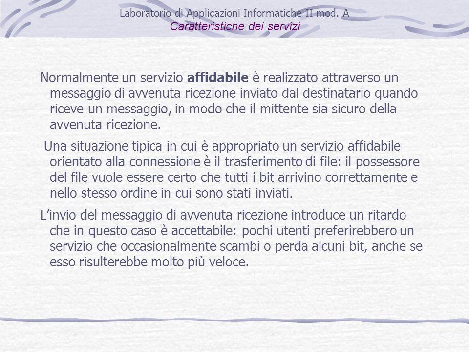 Normalmente un servizio affidabile è realizzato attraverso un messaggio di avvenuta ricezione inviato dal destinatario quando riceve un messaggio, in