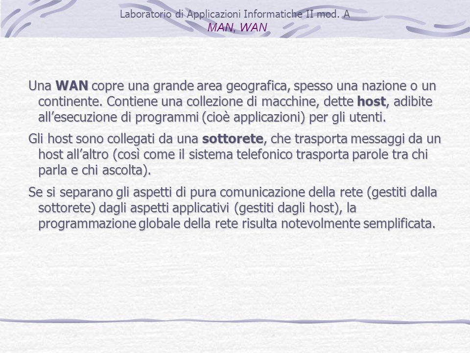 Laboratorio di Applicazioni Informatiche II mod. A MAN, WAN Una WAN copre una grande area geografica, spesso una nazione o un continente. Contiene una