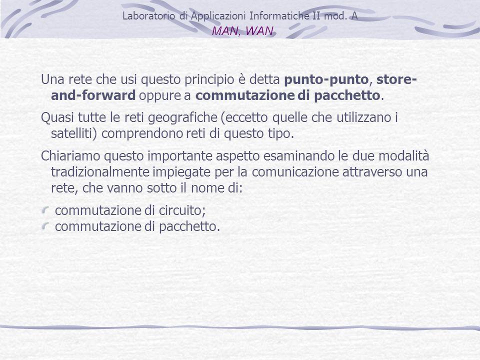 Laboratorio di Applicazioni Informatiche II mod. A MAN, WAN Una rete che usi questo principio è detta punto-punto, store- and-forward oppure a commuta