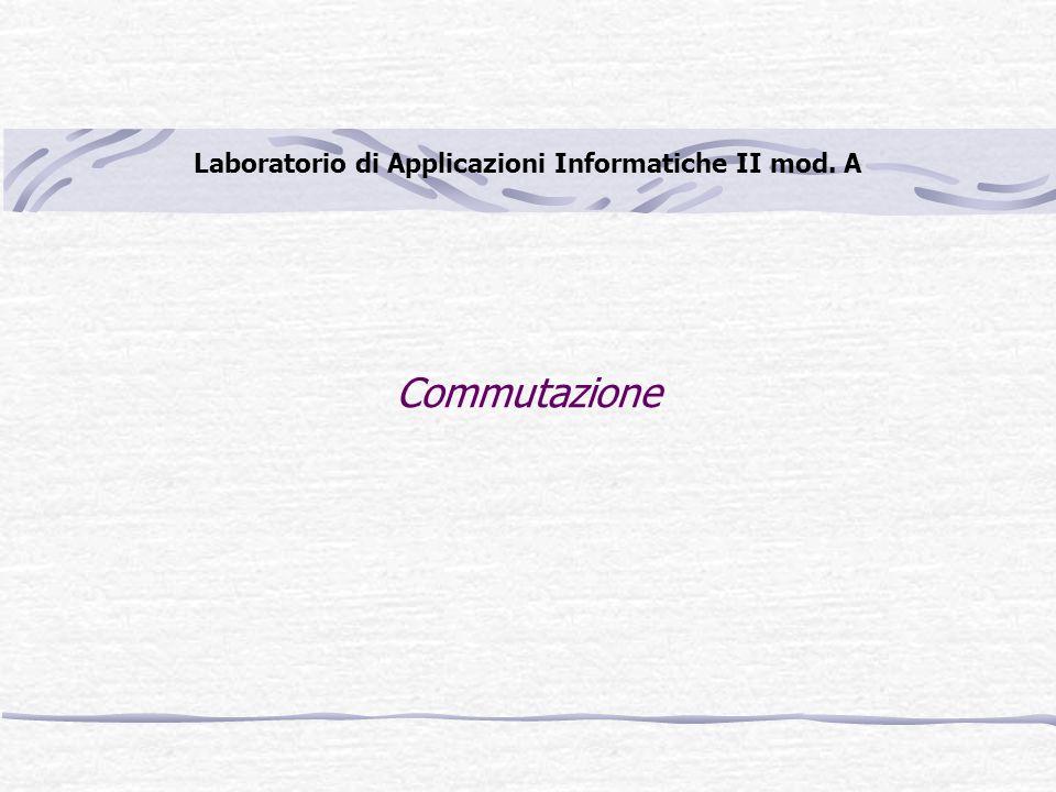 Commutazione Laboratorio di Applicazioni Informatiche II mod. A