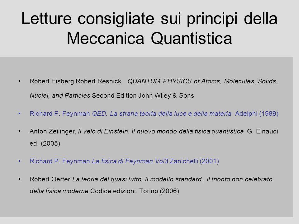 Letture consigliate sui principi della Meccanica Quantistica Robert Eisberg Robert Resnick QUANTUM PHYSICS of Atoms, Molecules, Solids, Nuclei, and Pa