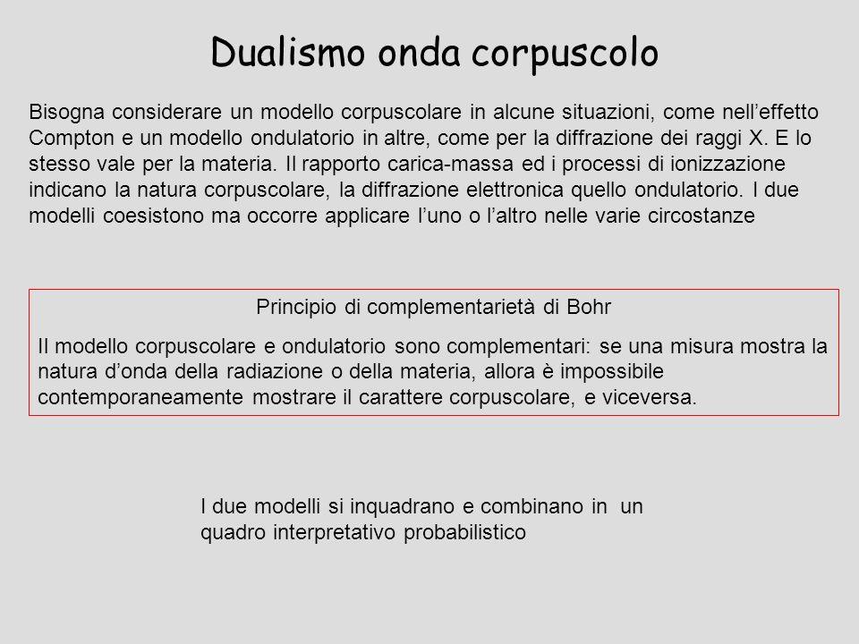 Dualismo onda corpuscolo Bisogna considerare un modello corpuscolare in alcune situazioni, come nelleffetto Compton e un modello ondulatorio in altre,