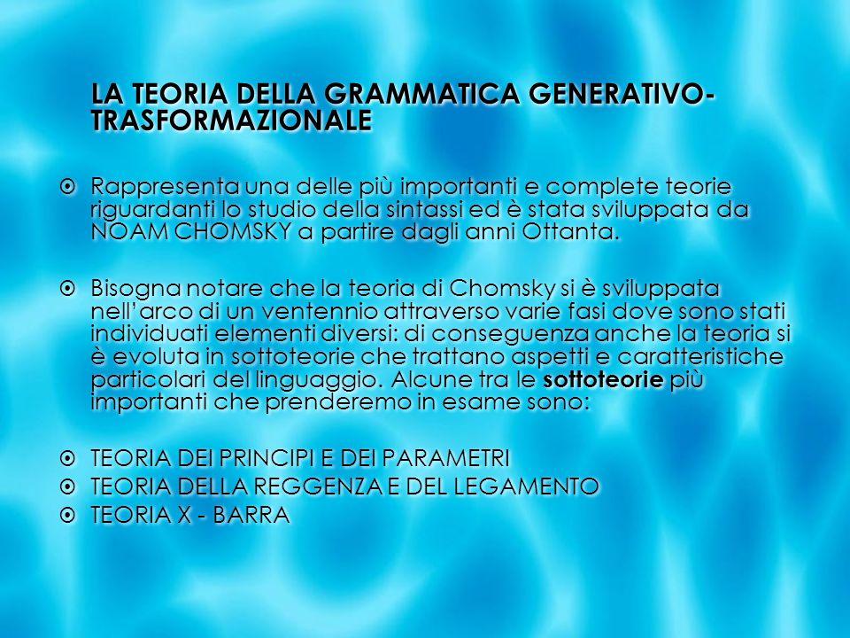 LA TEORIA DELLA GRAMMATICA GENERATIVO- TRASFORMAZIONALE Rappresenta una delle più importanti e complete teorie riguardanti lo studio della sintassi ed