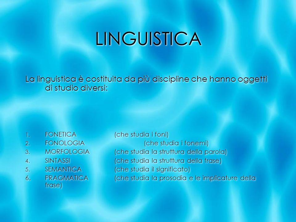 LINGUISTICA La linguistica è costituita da più discipline che hanno oggetti di studio diversi: 1. FONETICA(che studia i foni) 2. FONOLOGIA(che studia