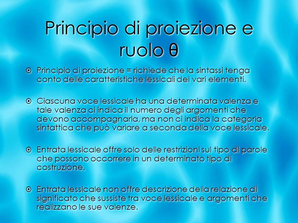 Principio di proiezione e ruolo θ Principio di proiezione = richiede che la sintassi tenga conto delle caratteristiche lessicali dei vari elementi. Ci