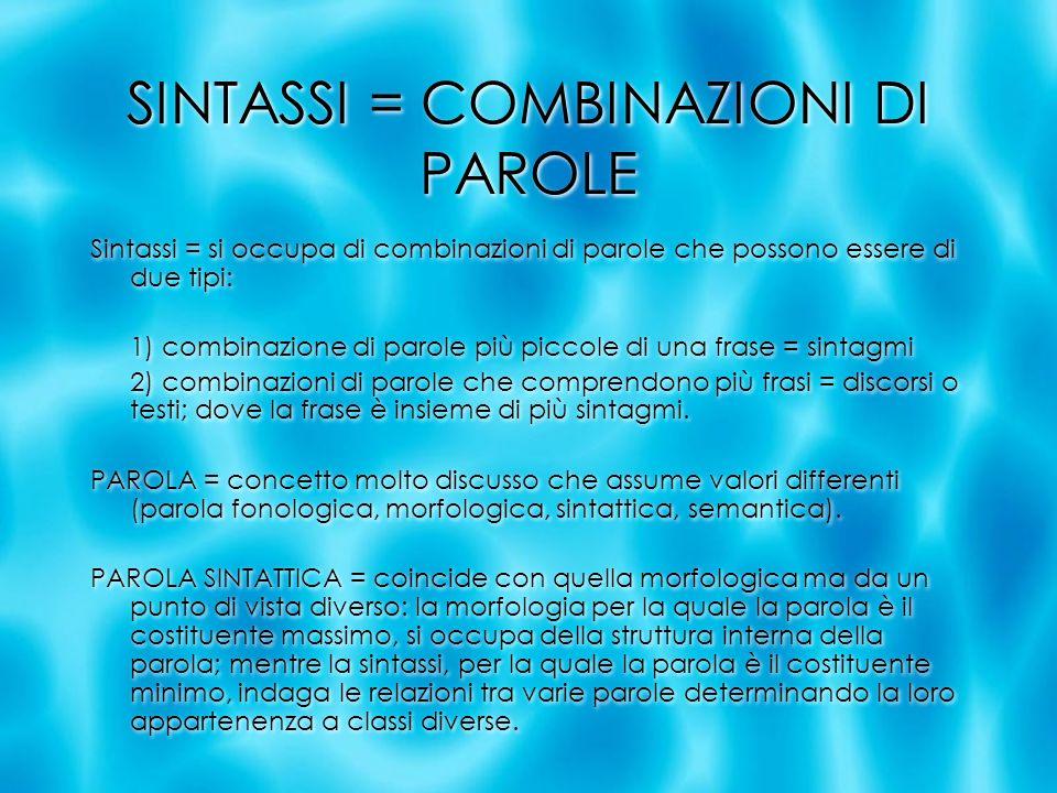 SINTASSI = COMBINAZIONI DI PAROLE Sintassi = si occupa di combinazioni di parole che possono essere di due tipi: 1) combinazione di parole più piccole