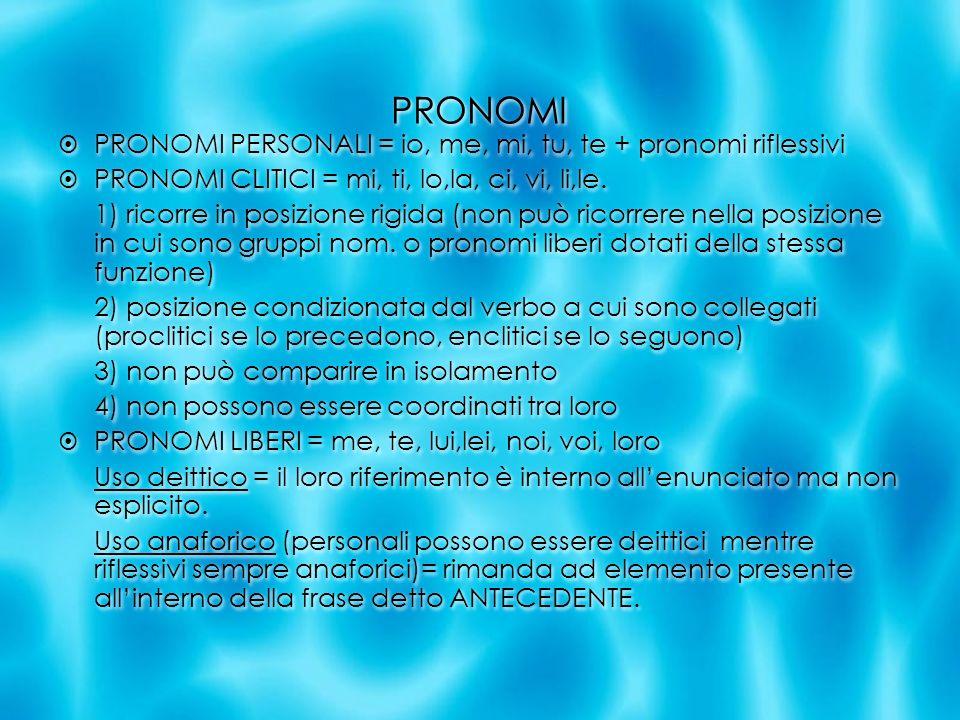 PRONOMI PRONOMI PERSONALI = io, me, mi, tu, te + pronomi riflessivi PRONOMI CLITICI = mi, ti, lo,la, ci, vi, li,le. 1) ricorre in posizione rigida (no