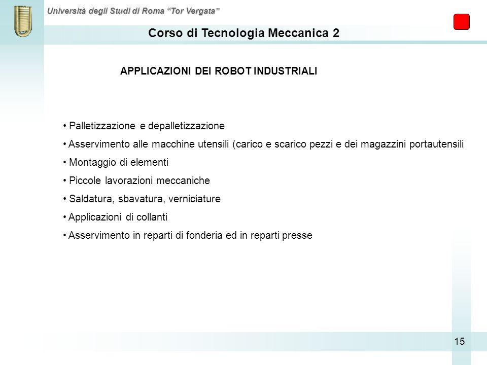 Corso di Tecnologia Meccanica 2 Università degli Studi di Roma Tor Vergata 15 APPLICAZIONI DEI ROBOT INDUSTRIALI Palletizzazione e depalletizzazione A