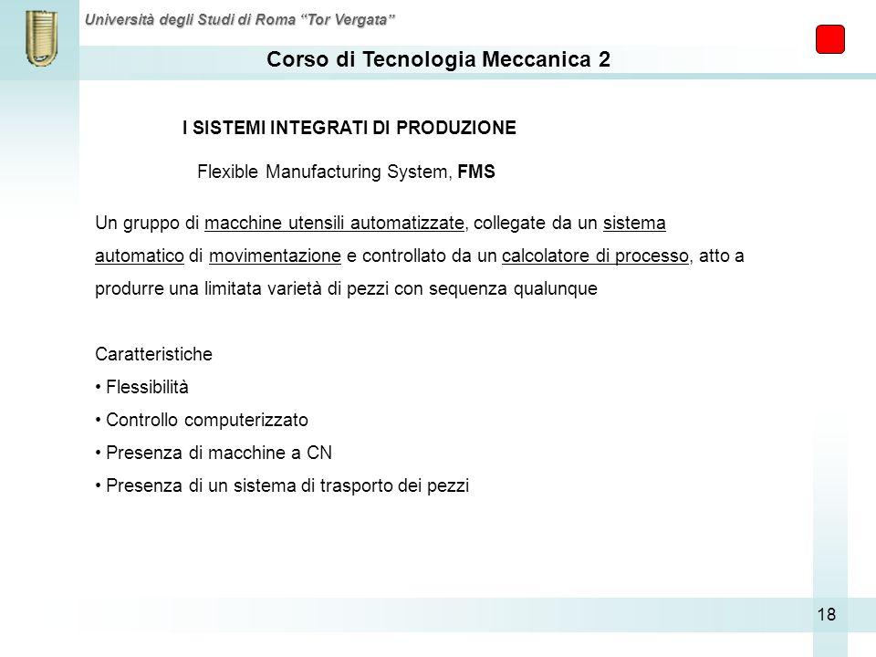 Corso di Tecnologia Meccanica 2 Università degli Studi di Roma Tor Vergata 18 I SISTEMI INTEGRATI DI PRODUZIONE Flexible Manufacturing System, FMS Un