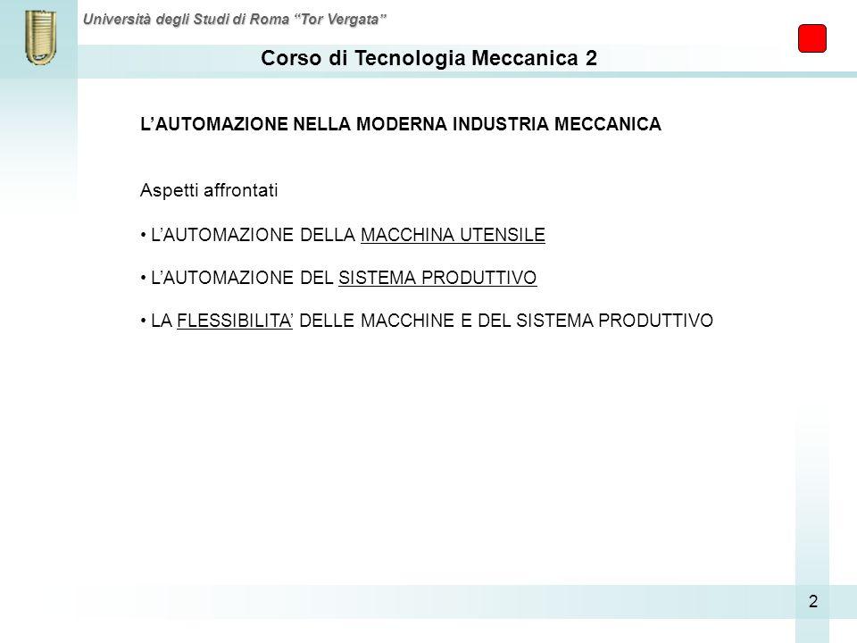 Corso di Tecnologia Meccanica 2 Università degli Studi di Roma Tor Vergata 2 LAUTOMAZIONE NELLA MODERNA INDUSTRIA MECCANICA Aspetti affrontati LAUTOMA