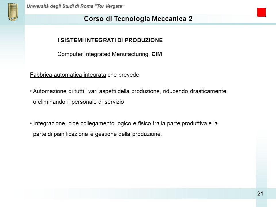 Corso di Tecnologia Meccanica 2 Università degli Studi di Roma Tor Vergata 21 I SISTEMI INTEGRATI DI PRODUZIONE Computer Integrated Manufacturing, CIM