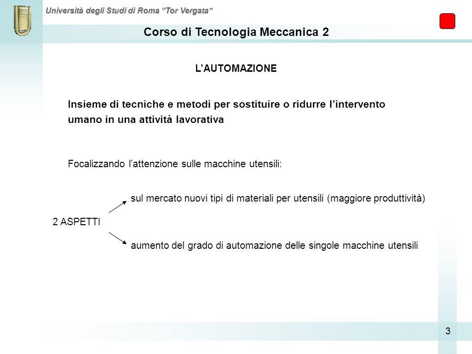 Corso di Tecnologia Meccanica 2 Università degli Studi di Roma Tor Vergata 3 Insieme di tecniche e metodi per sostituire o ridurre lintervento umano i