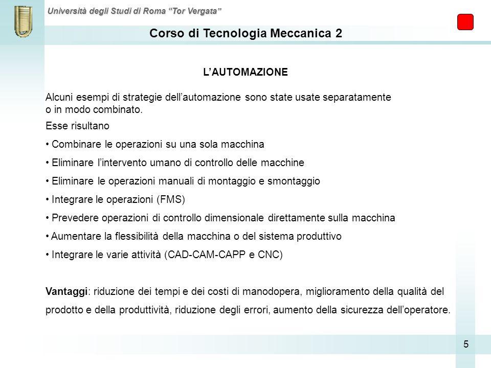 Corso di Tecnologia Meccanica 2 Università degli Studi di Roma Tor Vergata 5 Alcuni esempi di strategie dellautomazione sono state usate separatamente