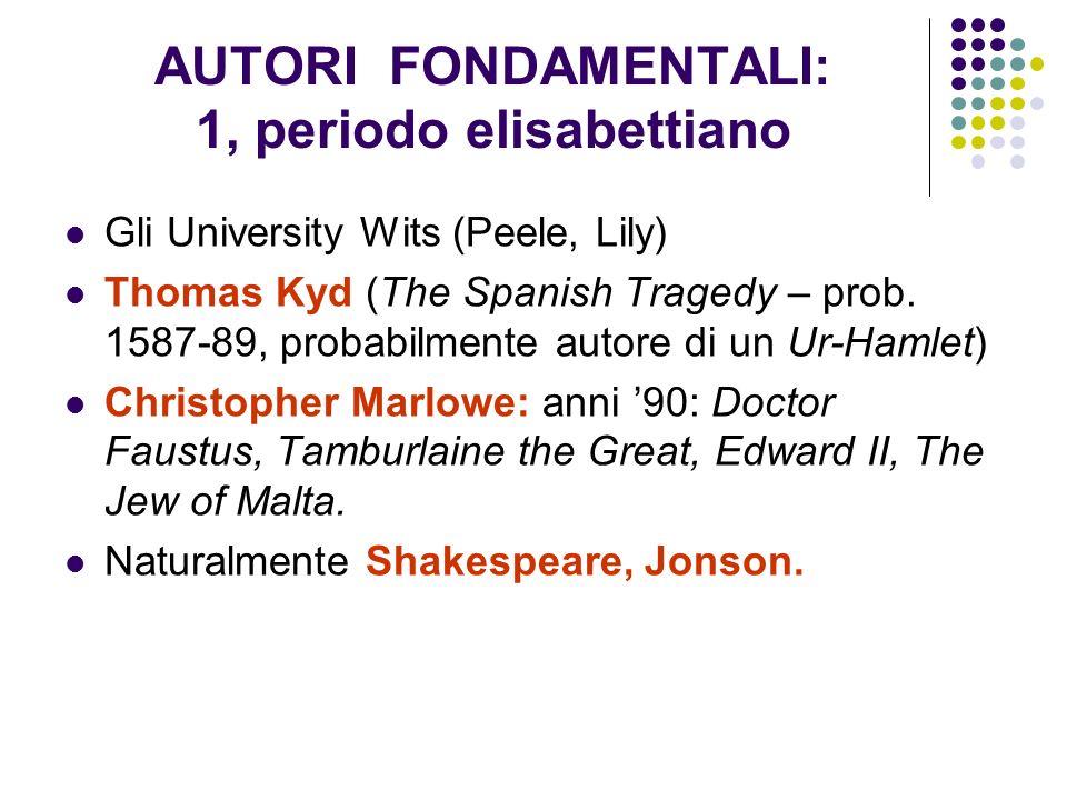 AUTORI FONDAMENTALI: 1, periodo elisabettiano Gli University Wits (Peele, Lily) Thomas Kyd (The Spanish Tragedy – prob. 1587-89, probabilmente autore