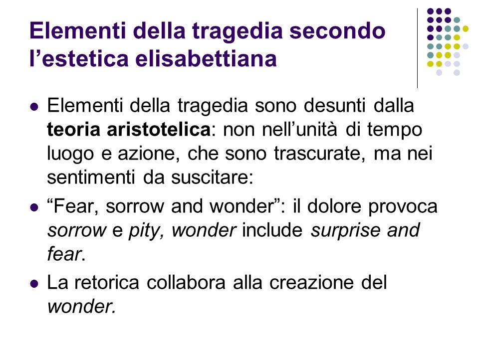Elementi della tragedia secondo lestetica elisabettiana Elementi della tragedia sono desunti dalla teoria aristotelica: non nellunità di tempo luogo e