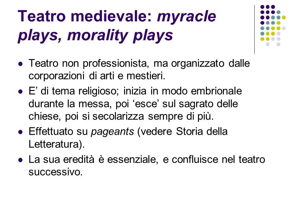 Teatro medievale: myracle plays, morality plays Teatro non professionista, ma organizzato dalle corporazioni di arti e mestieri. E di tema religioso;