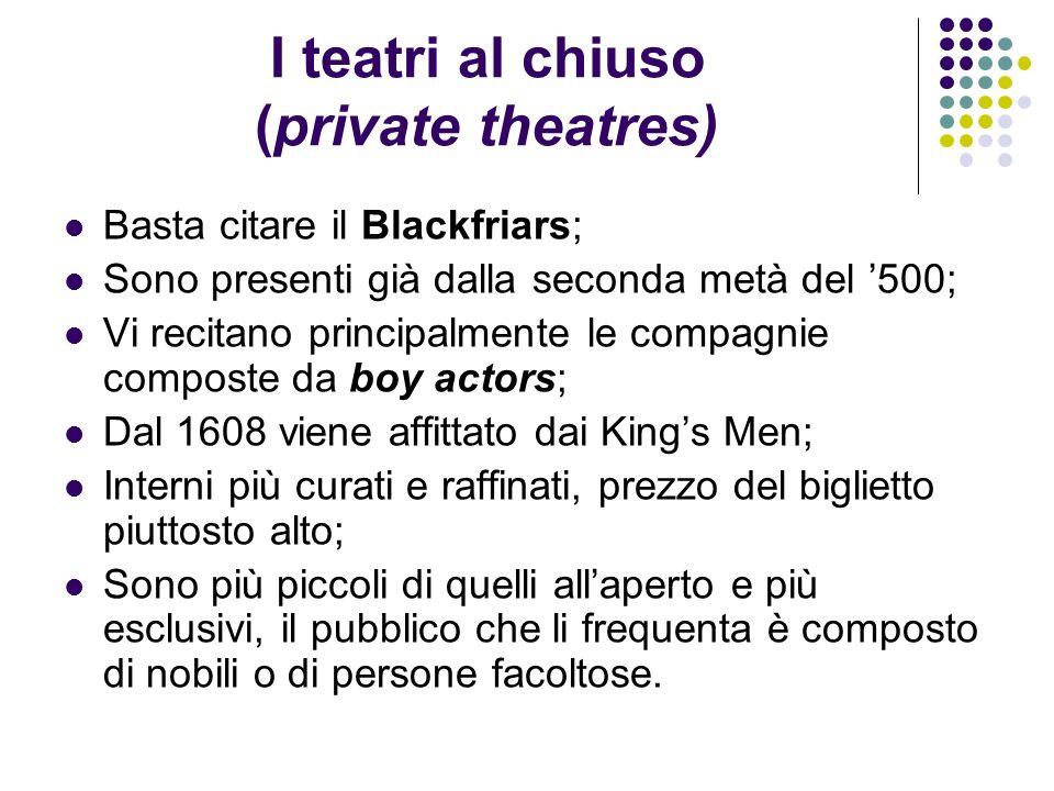 I teatri al chiuso (private theatres) Basta citare il Blackfriars; Sono presenti già dalla seconda metà del 500; Vi recitano principalmente le compagn