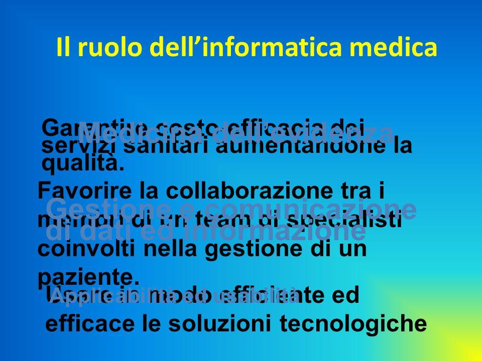 Il ruolo dellinformatica medica Garantire costo-efficacia dei servizi sanitari aumentandone la qualità. Favorire la collaborazione tra i membri di un