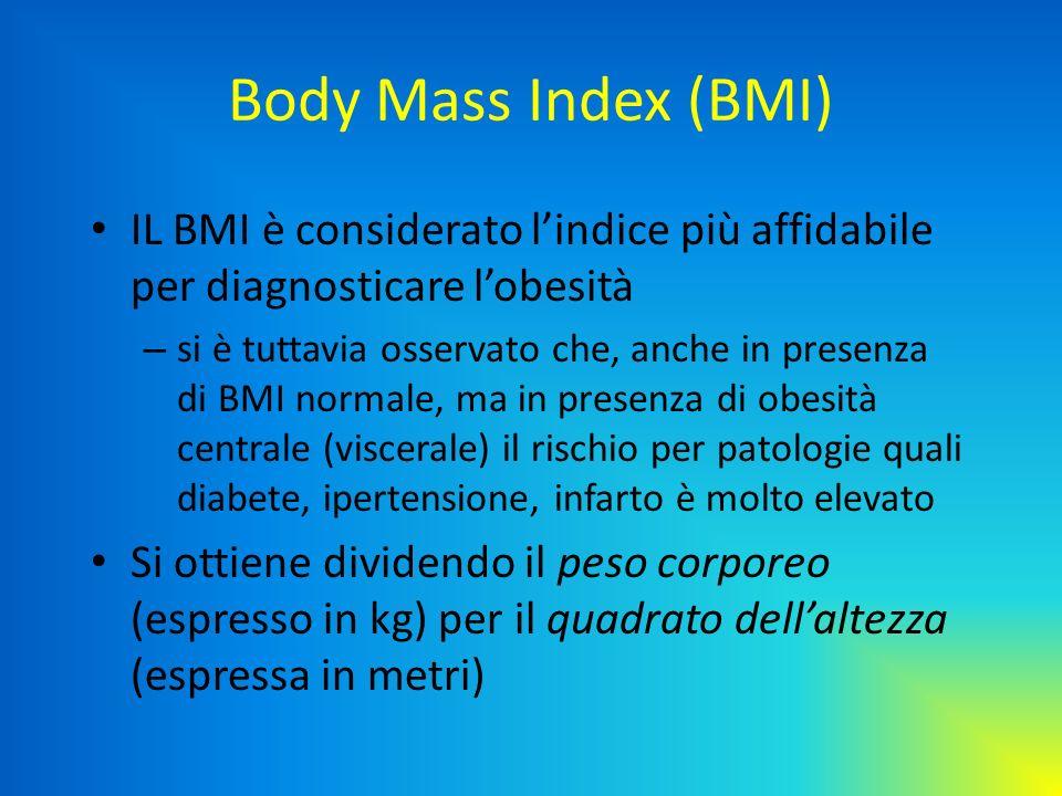 Body Mass Index (BMI) IL BMI è considerato lindice più affidabile per diagnosticare lobesità – si è tuttavia osservato che, anche in presenza di BMI n