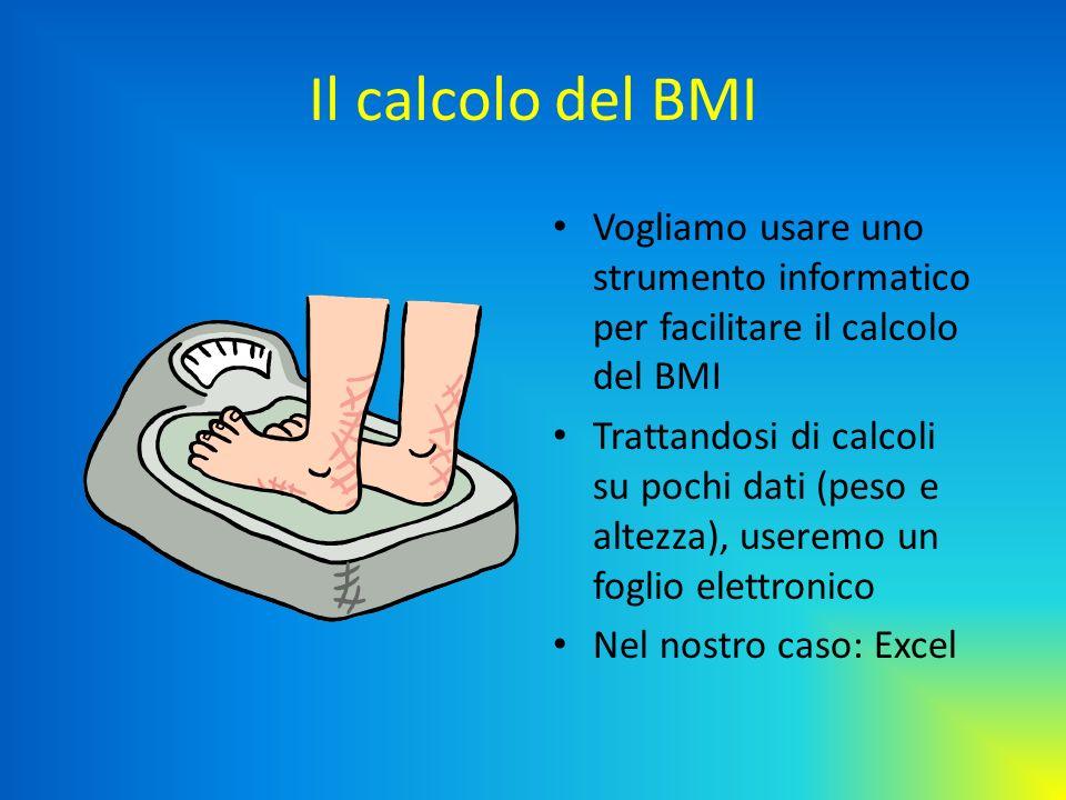 Il calcolo del BMI Vogliamo usare uno strumento informatico per facilitare il calcolo del BMI Trattandosi di calcoli su pochi dati (peso e altezza), u