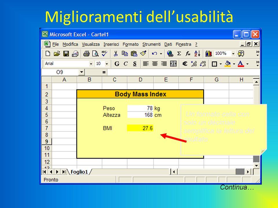 Miglioramenti dellusabilità Un formato cella con solo un decimale semplifica la lettura del risultato Continua…