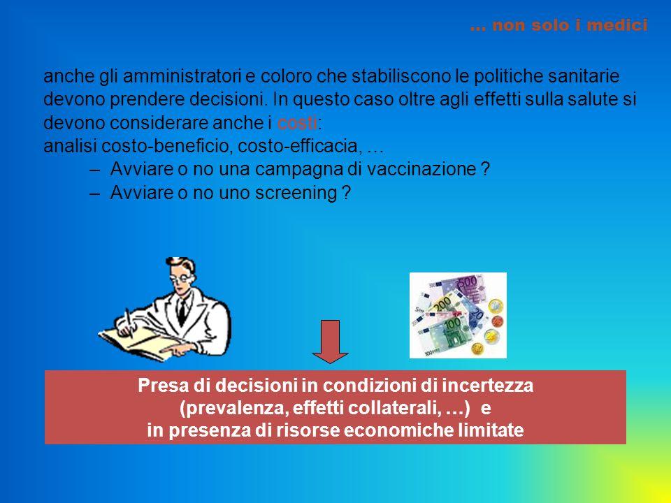 … non solo i medici anche gli amministratori e coloro che stabiliscono le politiche sanitarie devono prendere decisioni. In questo caso oltre agli eff