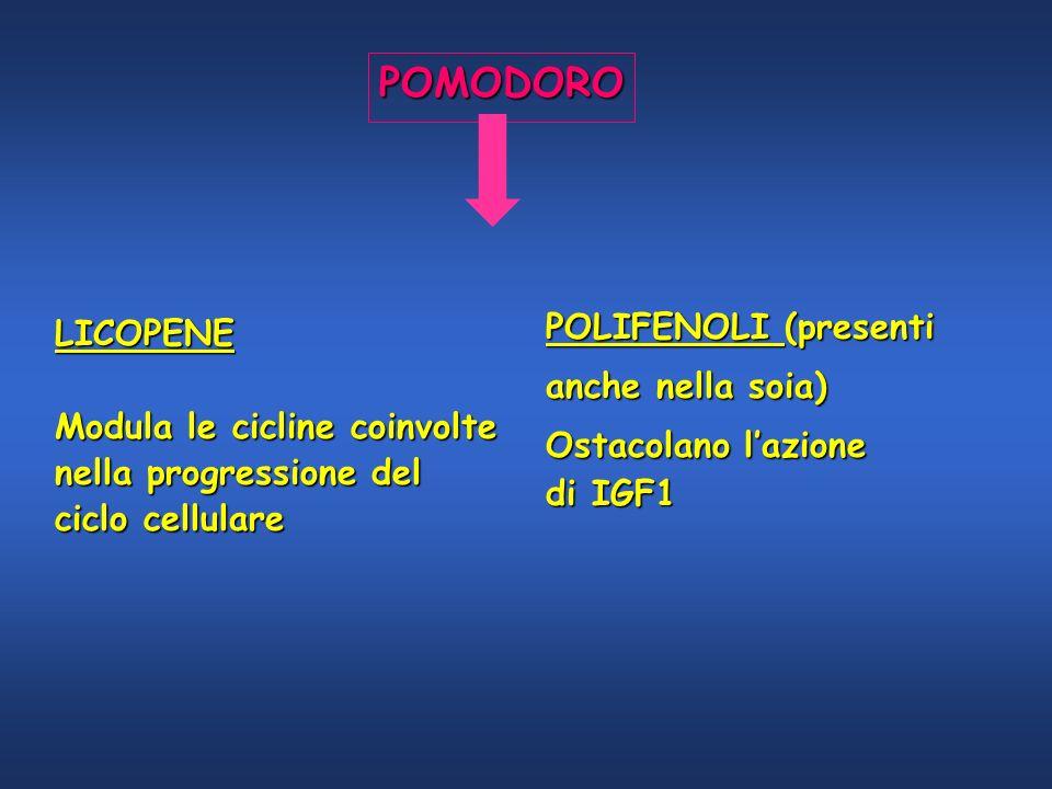 POMODORO LICOPENE Modula le cicline coinvolte nella progressione del ciclo cellulare POLIFENOLI (presenti anche nella soia) Ostacolano lazione di IGF1