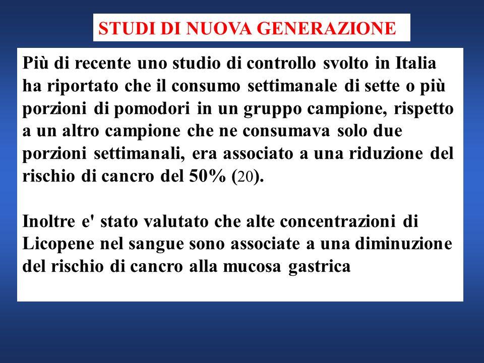 Più di recente uno studio di controllo svolto in Italia ha riportato che il consumo settimanale di sette o più porzioni di pomodori in un gruppo campi
