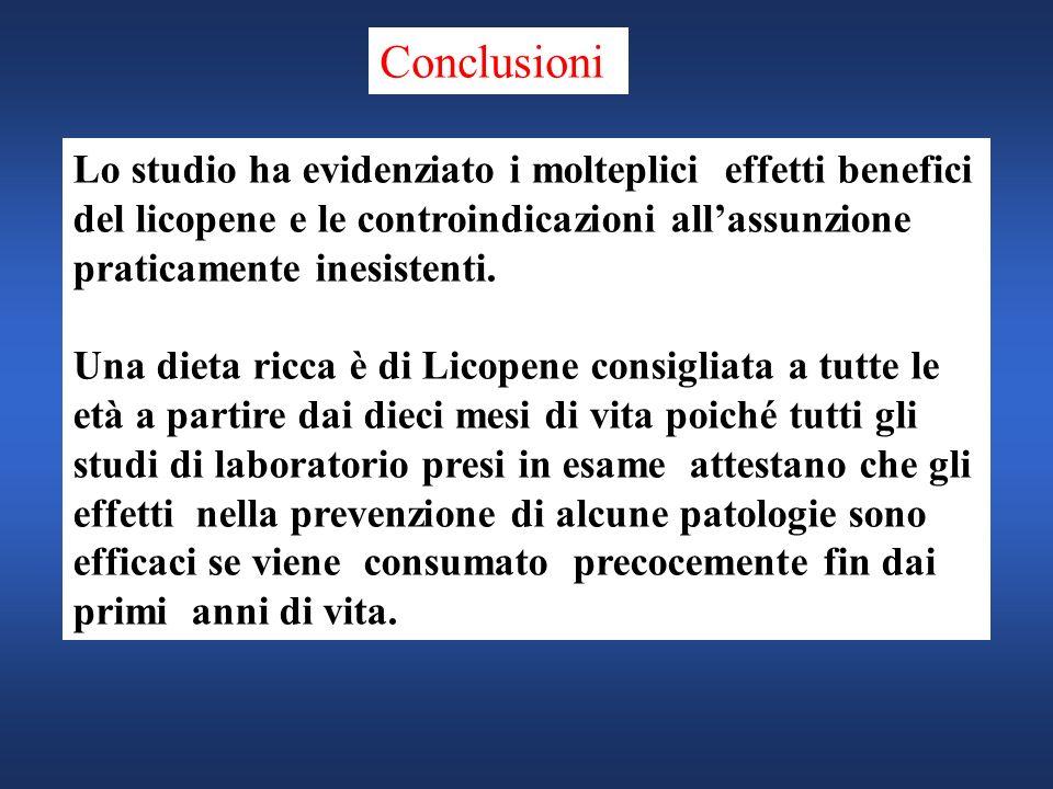 Lo studio ha evidenziato i molteplici effetti benefici del licopene e le controindicazioni allassunzione praticamente inesistenti. Una dieta ricca è d