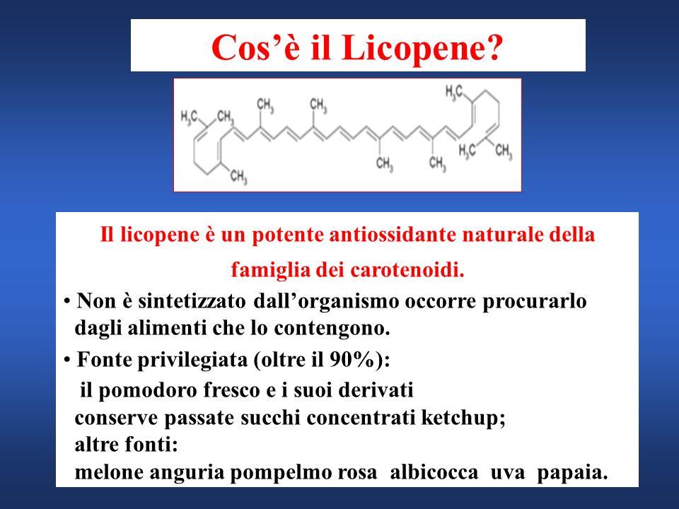 Il licopene è un potente antiossidante naturale della famiglia dei carotenoidi. Non è sintetizzato dallorganismo occorre procurarlo dagli alimenti che