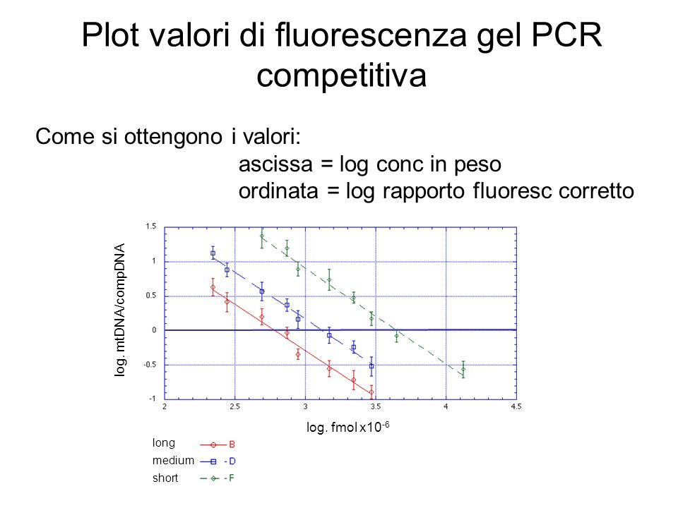 Plot valori di fluorescenza gel PCR competitiva log. mtDNA/compDNA log. fmol x10 -6 long medium short Come si ottengono i valori: ascissa = log conc i