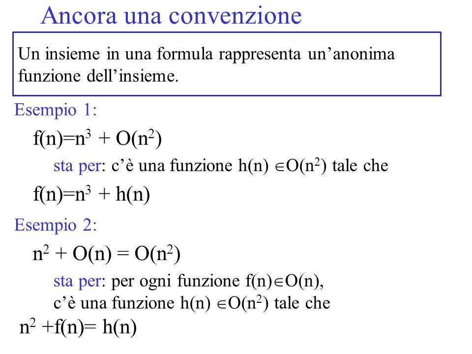 Un insieme in una formula rappresenta unanonima funzione dellinsieme. Ancora una convenzione f(n)=n 3 + O(n 2 ) Esempio 1: sta per: cè una funzione h(