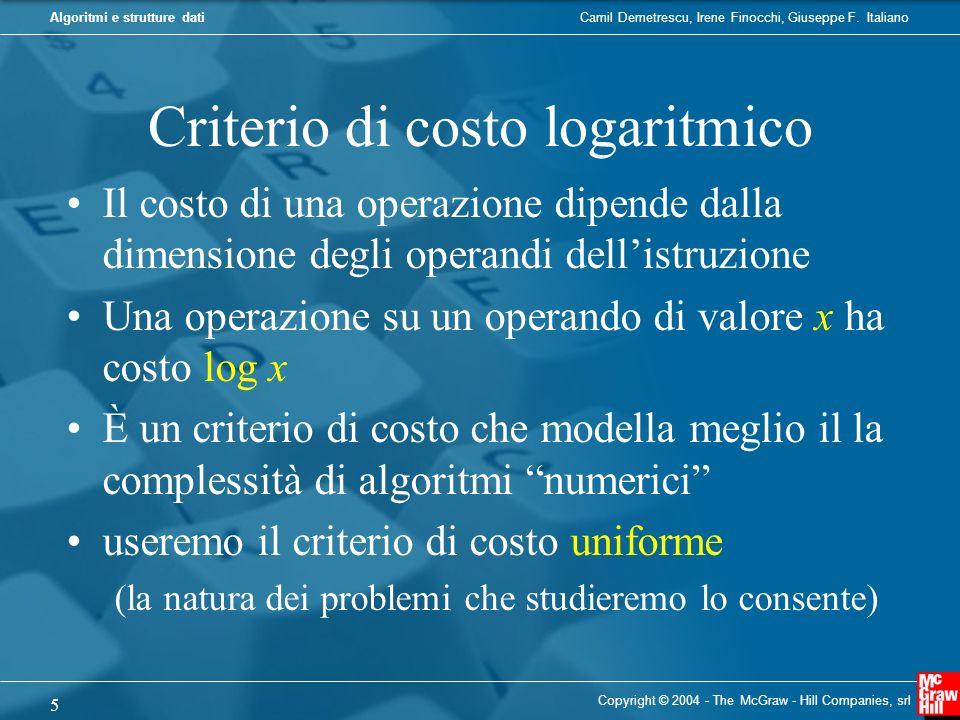 Camil Demetrescu, Irene Finocchi, Giuseppe F. ItalianoAlgoritmi e strutture dati Criterio di costo logaritmico Il costo di una operazione dipende dall