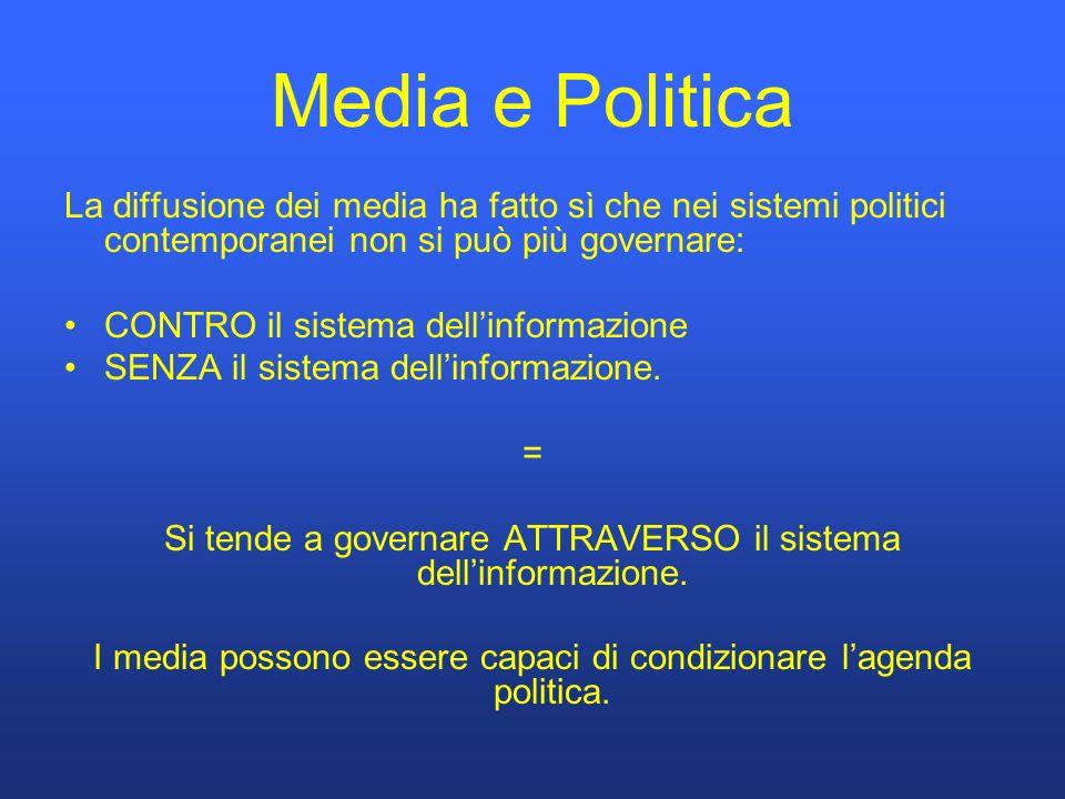 Media e Politica La diffusione dei media ha fatto sì che nei sistemi politici contemporanei non si può più governare: CONTRO il sistema dellinformazione SENZA il sistema dellinformazione.