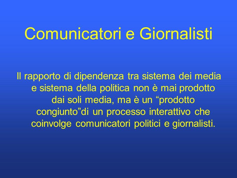 Comunicatori e Giornalisti Il rapporto di dipendenza tra sistema dei media e sistema della politica non è mai prodotto dai soli media, ma è un prodotto congiuntodi un processo interattivo che coinvolge comunicatori politici e giornalisti.