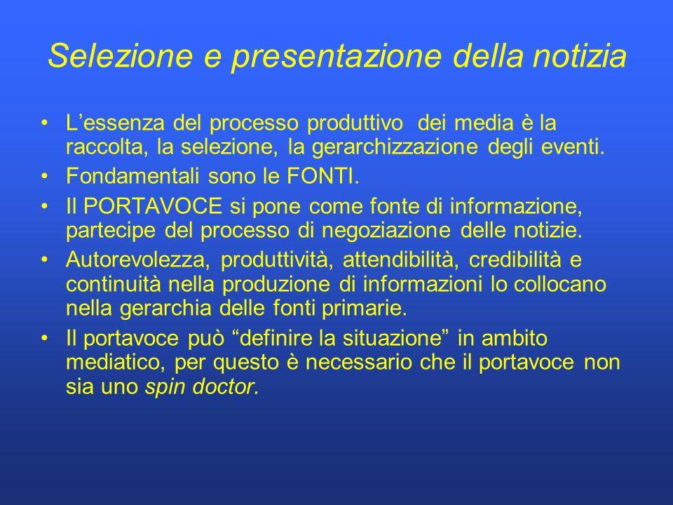 Selezione e presentazione della notizia Lessenza del processo produttivo dei media è la raccolta, la selezione, la gerarchizzazione degli eventi.