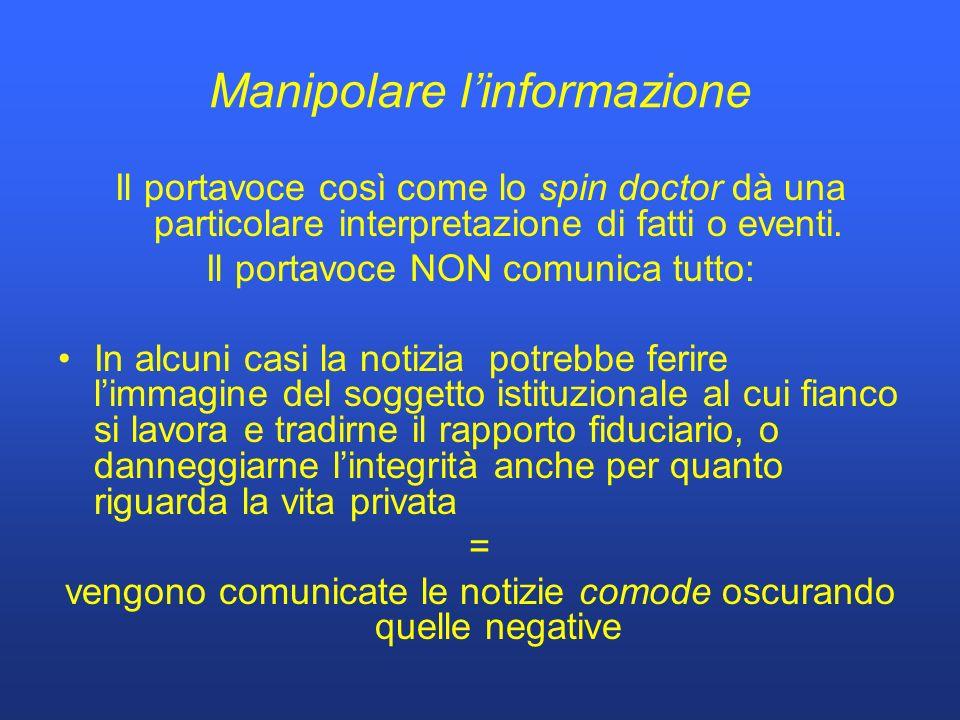 Manipolare linformazione Il portavoce così come lo spin doctor dà una particolare interpretazione di fatti o eventi.