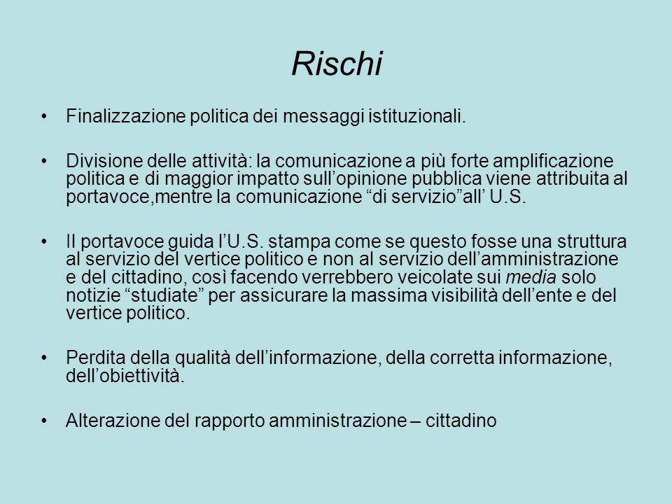 Rischi Finalizzazione politica dei messaggi istituzionali.