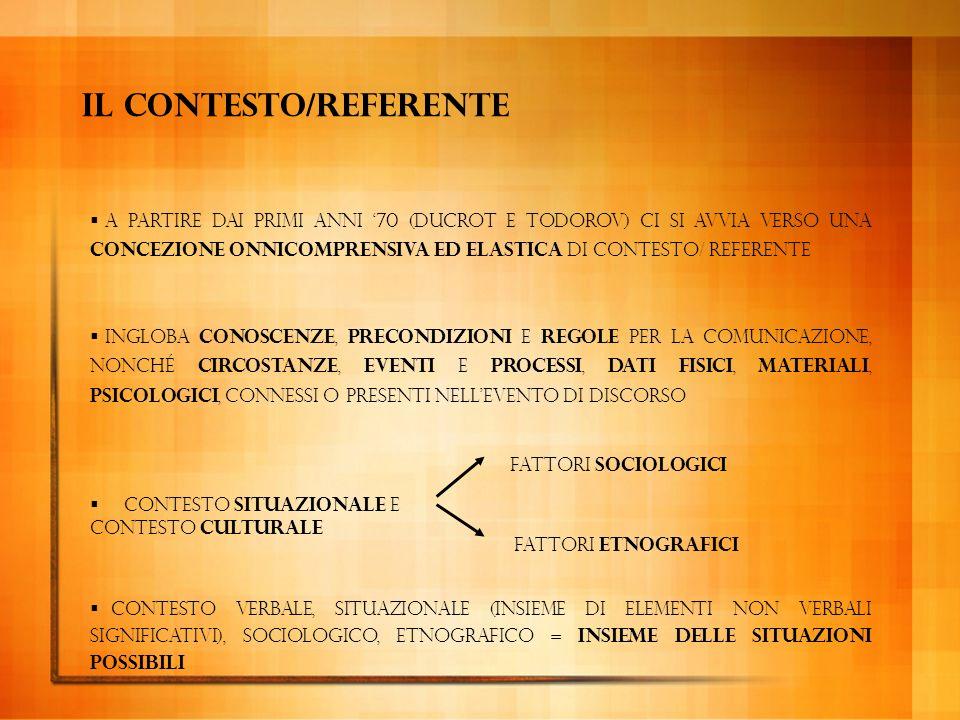 Funzione referenziale (o informativa): si concentra sul contesto. L'emittente, parlando, fornisce al ricevente delle informazioni che vanno spesso al