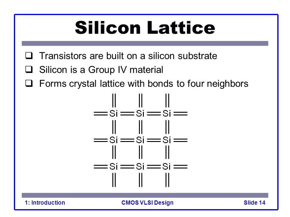 CMOS VLSI Design1: IntroductionSlide 14 Silicon Lattice Transistors are built on a silicon substrate Silicon is a Group IV material Forms crystal latt