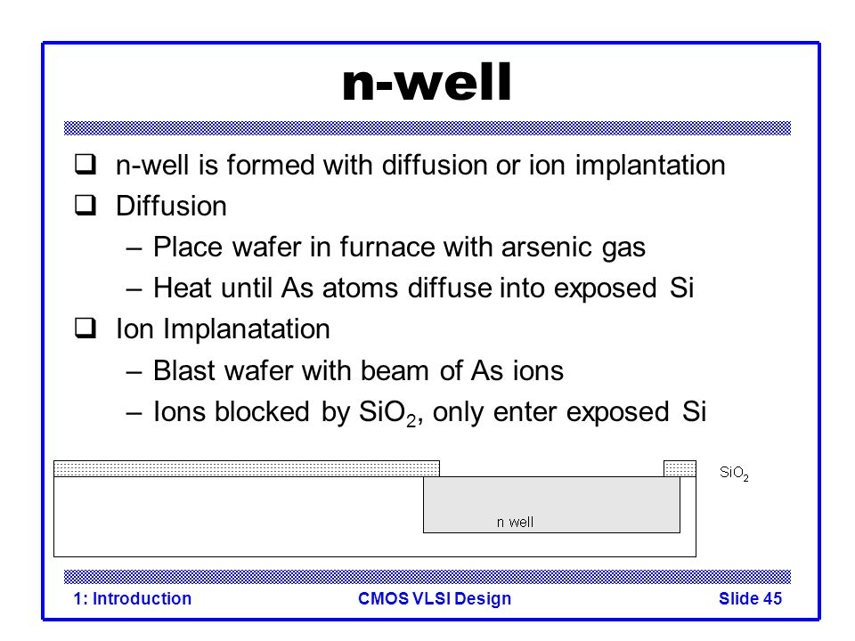 CMOS VLSI Design1: IntroductionSlide 45 n-well n-well is formed with diffusion or ion implantation Diffusion –Place wafer in furnace with arsenic gas