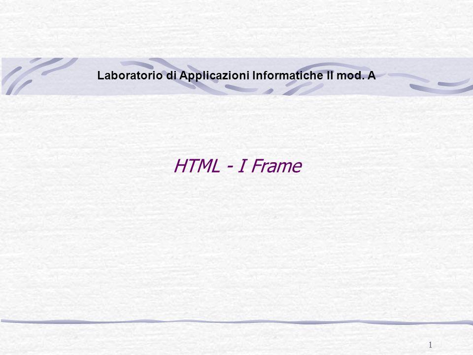 22 Laboratorio di Applicazioni Informatiche II mod. A HTML – I Frame (riquadri)