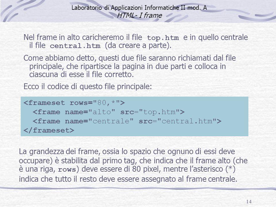 14 Nel frame in alto caricheremo il file top.htm e in quello centrale il file central.htm (da creare a parte). Come abbiamo detto, questi due file sar