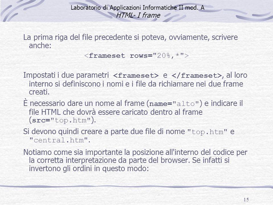 15 La prima riga del file precedente si poteva, ovviamente, scrivere anche: Impostati i due parametri e, al loro interno si definiscono i nomi e i file da richiamare nei due frame creati.