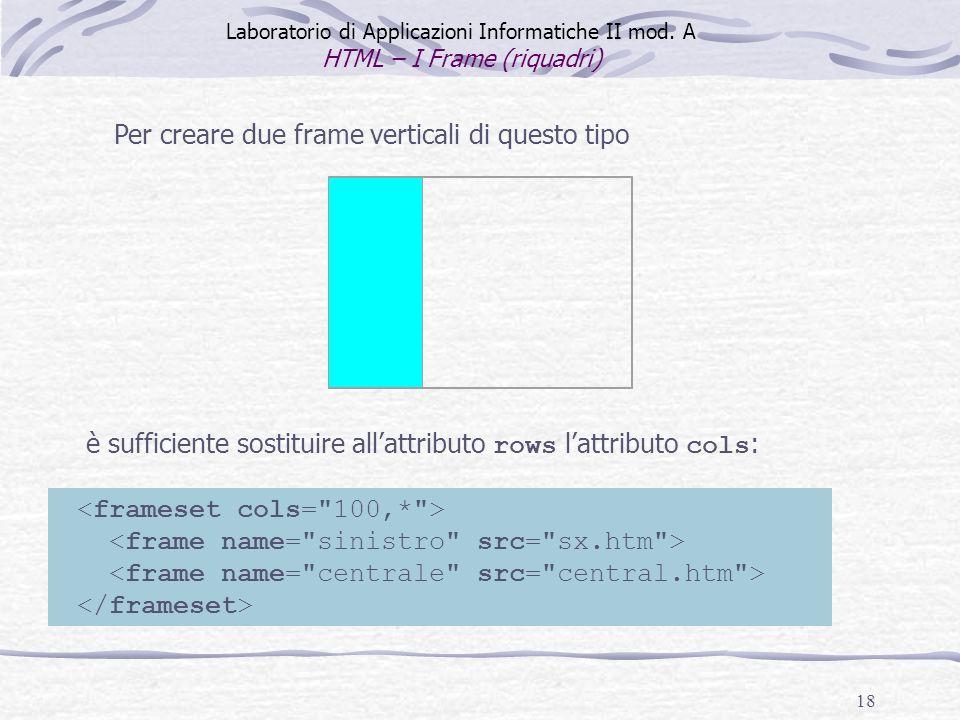18 Per creare due frame verticali di questo tipo è sufficiente sostituire allattributo rows lattributo cols : Laboratorio di Applicazioni Informatiche II mod.