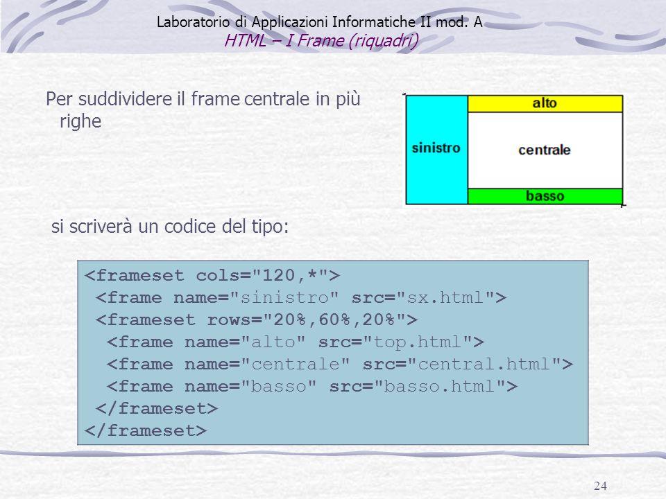24 Per suddividere il frame centrale in più righe Laboratorio di Applicazioni Informatiche II mod. A HTML – I Frame (riquadri) si scriverà un codice d