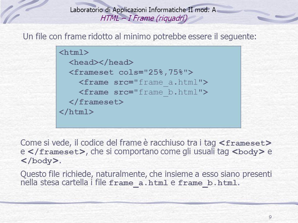 9 Laboratorio di Applicazioni Informatiche II mod. A HTML – I Frame (riquadri) Un file con frame ridotto al minimo potrebbe essere il seguente: Come s