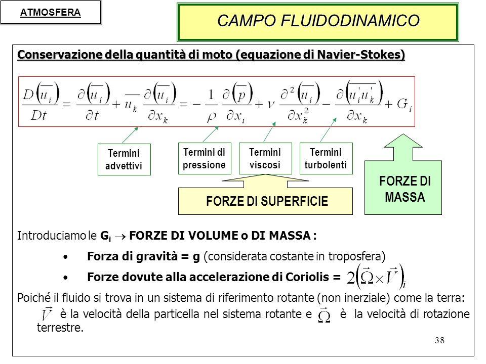 38 Conservazione della quantità di moto (equazione di Navier-Stokes) Introduciamo le G i FORZE DI VOLUME o DI MASSA : Forza di gravità = g (considerata costante in troposfera) Forze dovute alla accelerazione di Coriolis = Poiché il fluido si trova in un sistema di riferimento rotante (non inerziale) come la terra: è la velocità della particella nel sistema rotante e è la velocità di rotazione terrestre.